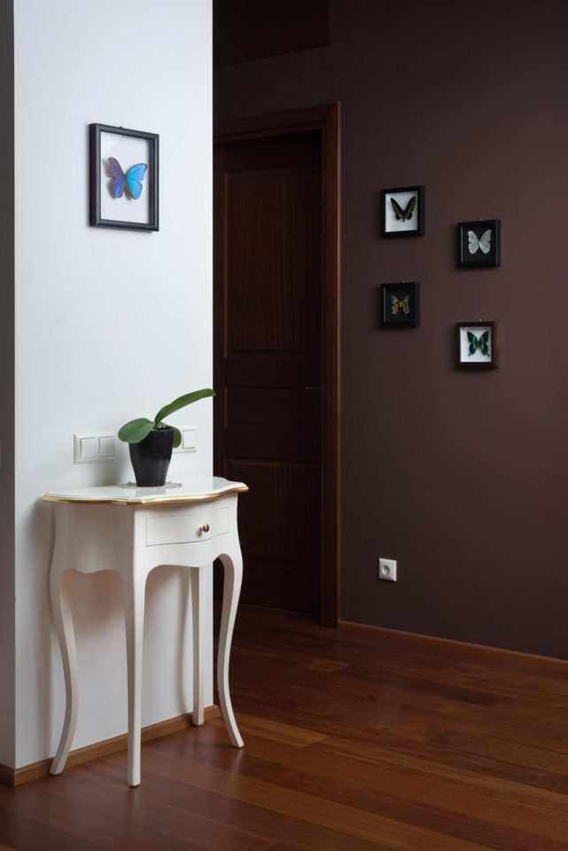 Home interior decorated with framed butterflies