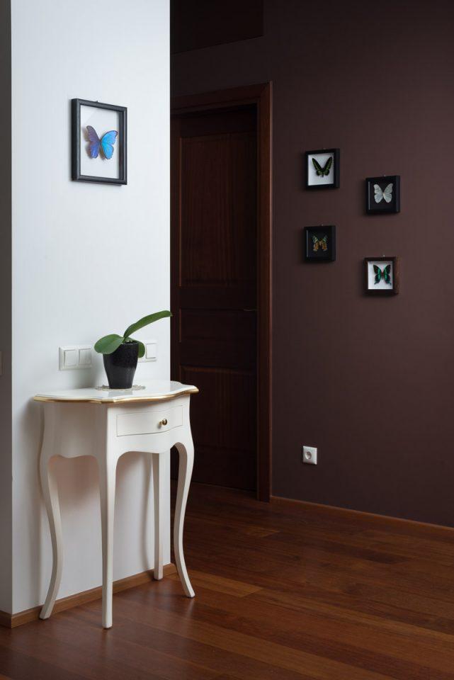 Tropiniai drugeliai rėmeliuose ant dviejų buto sienų